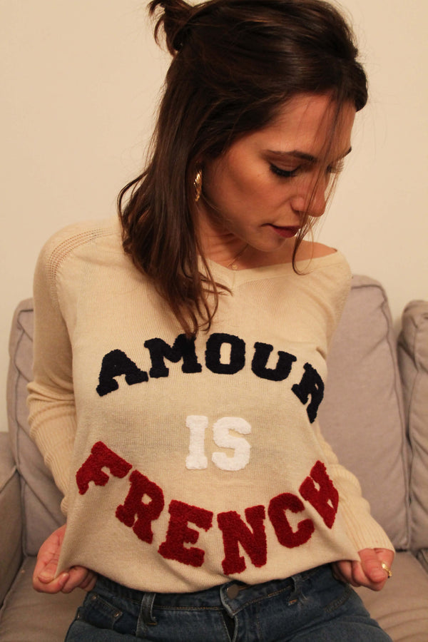 Absolème pull cachemire beige Amour is French