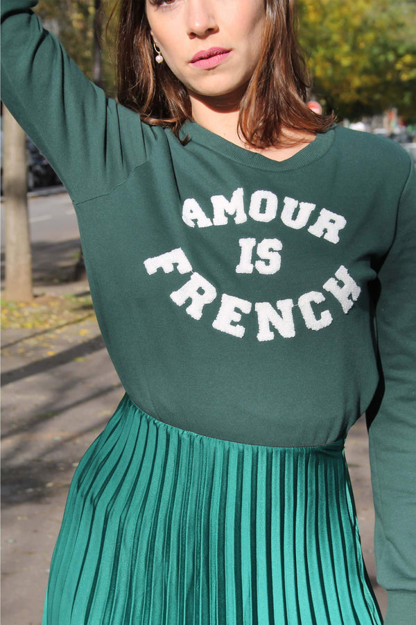 Absolème pull vert Amour is French