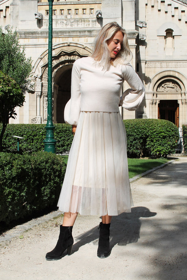 Absolème eshop robe pull tulle beige