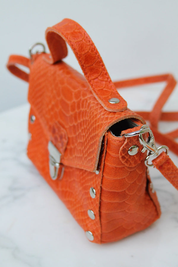 Absolème micro-sac à main en cuir orange python