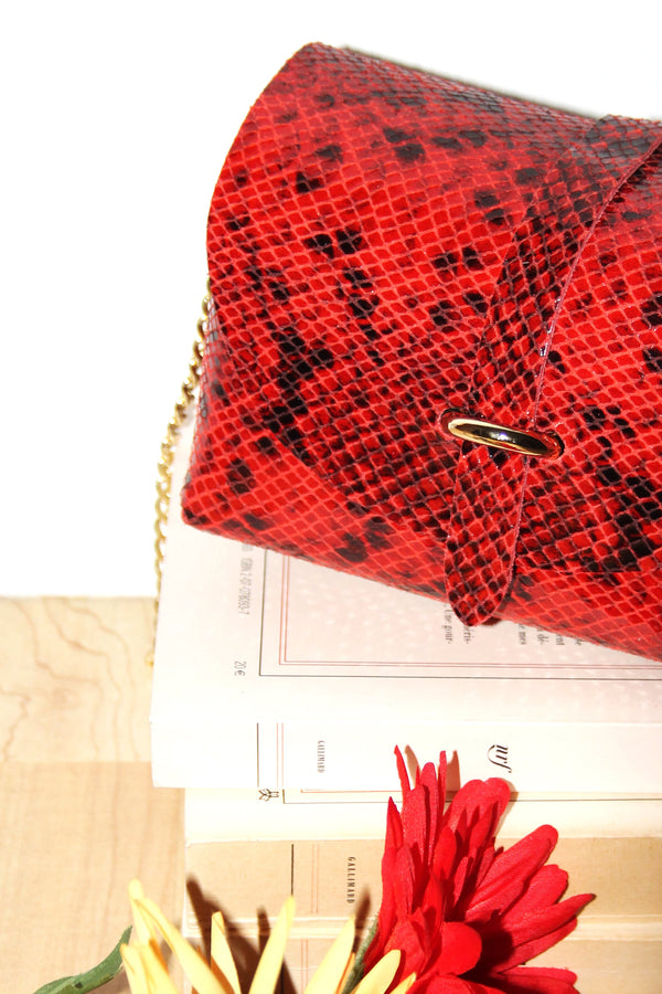Absolème micro sac à main en cuir rouge serpent
