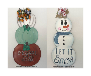 Virtual Paint Party ~ REVERSIBLE Stacked Pumpkins / Snowman