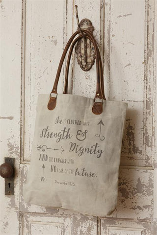 Classic Vintage Canvas Handbag - She is clothed with strength & dignity