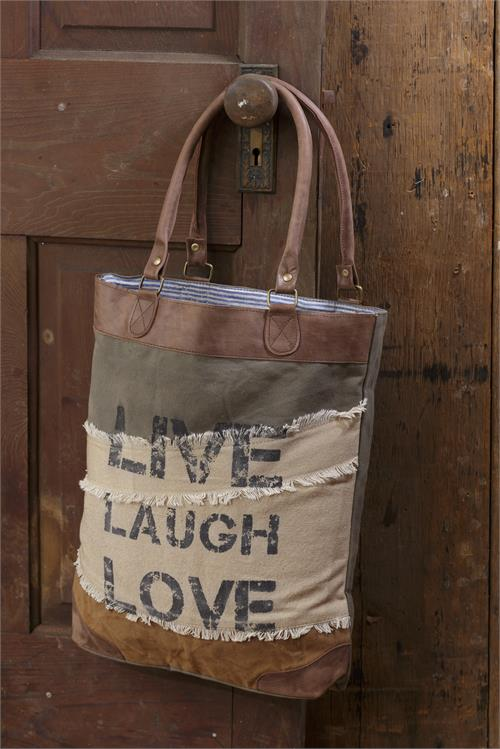 Classic Vintage Canvas Handbag - Live Laugh Love