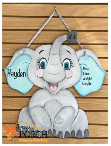 Online / Virtual Paint Party ~ Elephant Baby Announcement Door Hanger / Wall Decor