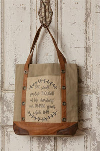 Classic Vintage Canvas Handbag - One small positive thought