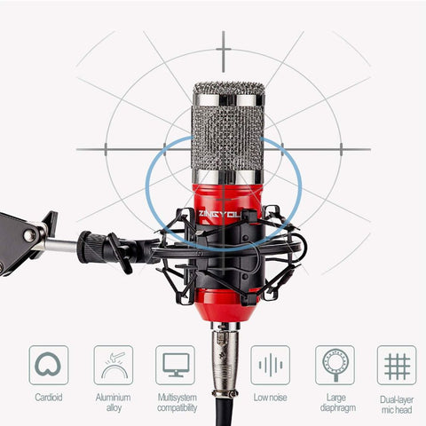 Condenser Microphone Bundle with Adjustable Mic Suspension Scissor Arm, Shock Mount and Double-Layer Pop Filter for Studio Recording & Broadcasting