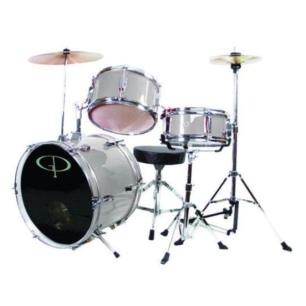 Gp 3 Pc Delux Jr Drumset Metallic Silver - Drum & Percussion