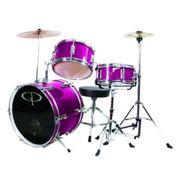 Gp 3 Pc Deluxe Jr Drumset Metal Pink - Drum & Percussion