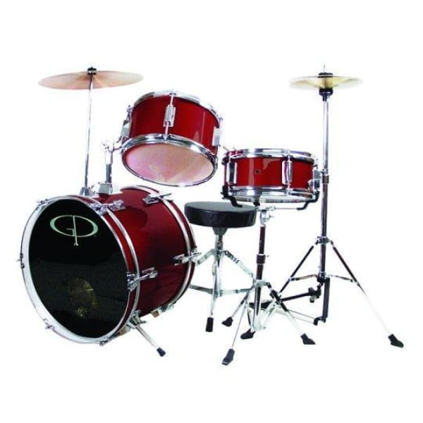Gp 3 Pc Deluxe Jr Drumset Metal Wine Red - Drum & Percussion