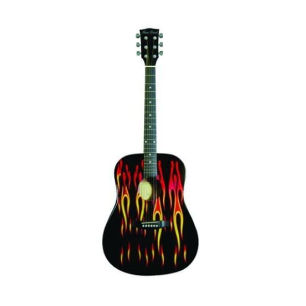 Ms Drd Acou Sp Top Guit Blk W Flames - Guitar & Bass