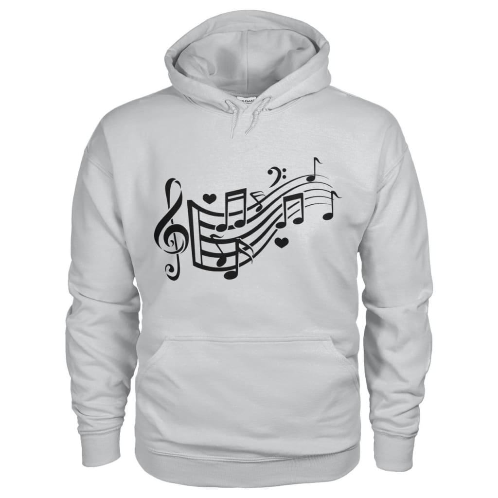 Music Notes Hoodie - Ash Grey / S - Hoodies