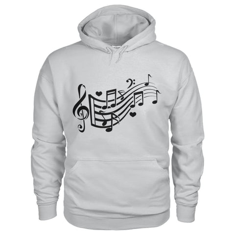 Image of Music Notes Hoodie - Ash Grey / S - Hoodies