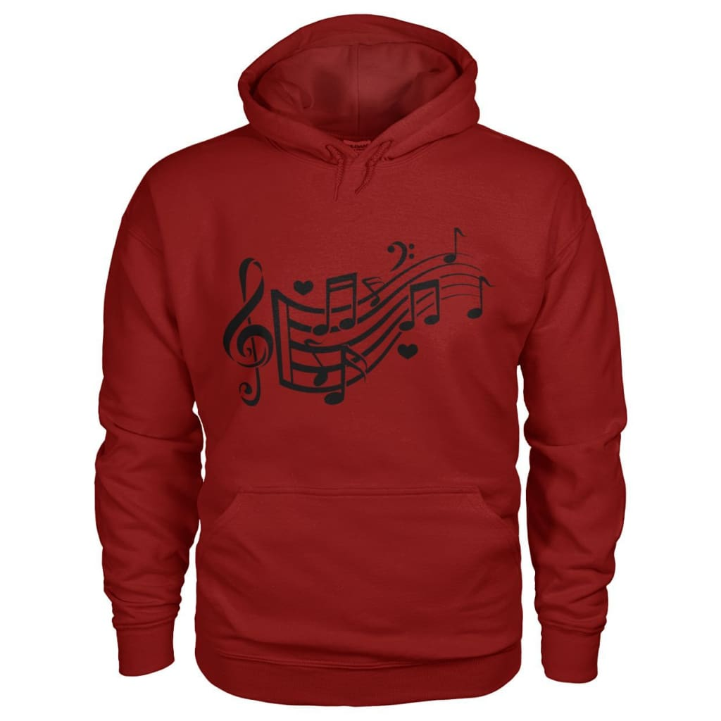 Music Notes Hoodie - Cardinal Red / S - Hoodies