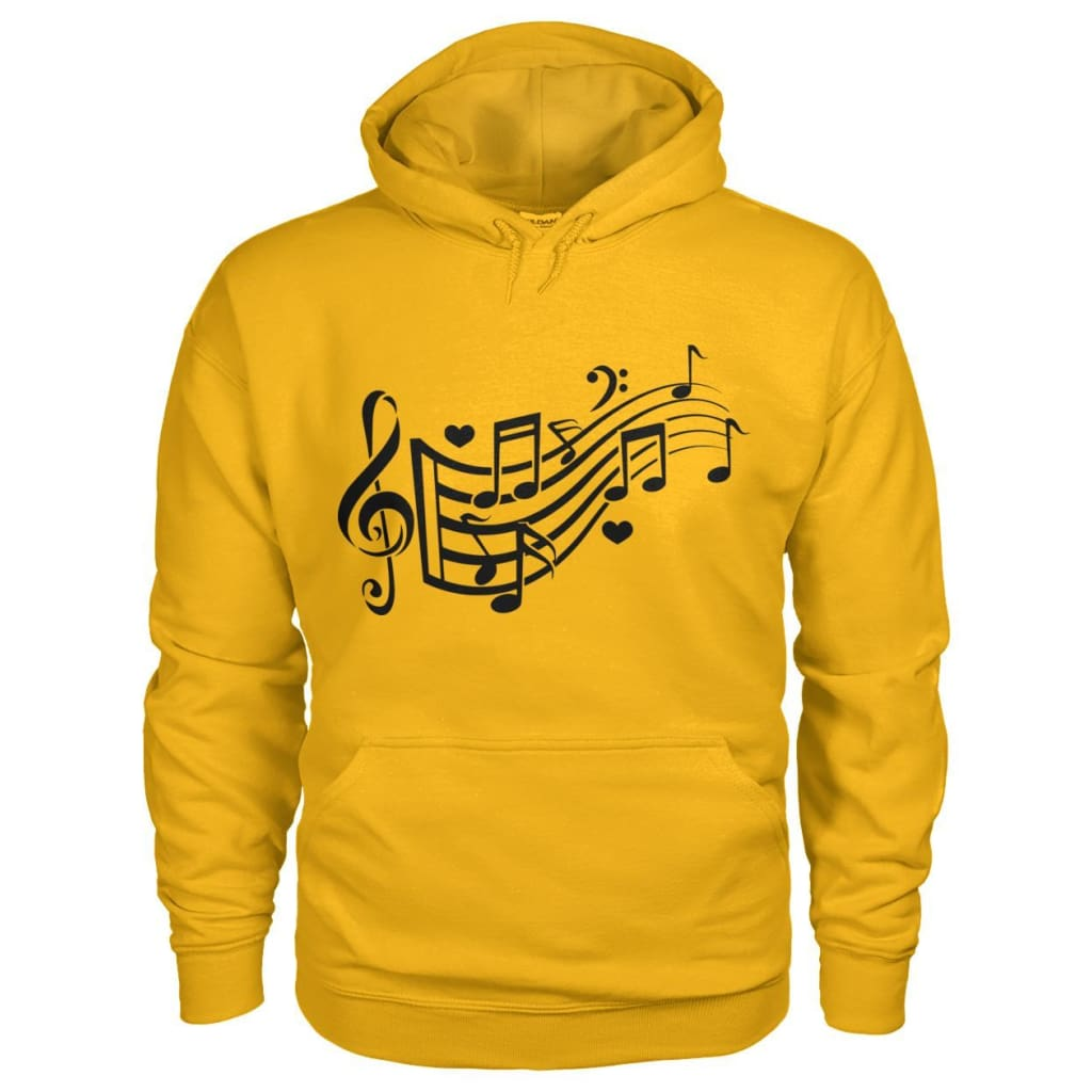 Music Notes Hoodie - Gold / S - Hoodies