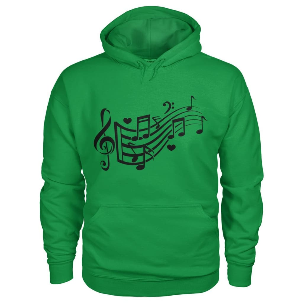 Music Notes Hoodie - Irish Green / S - Hoodies