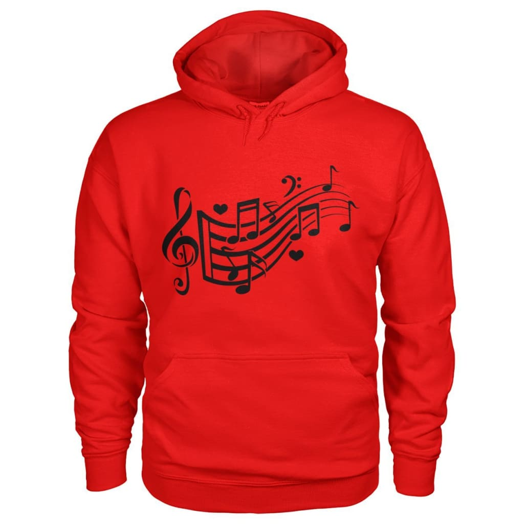 Music Notes Hoodie - Red / S - Hoodies