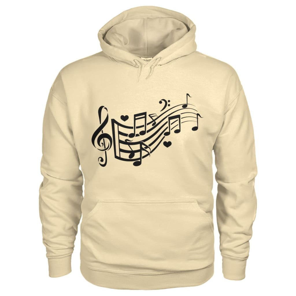 Music Notes Hoodie - Sand / S - Hoodies