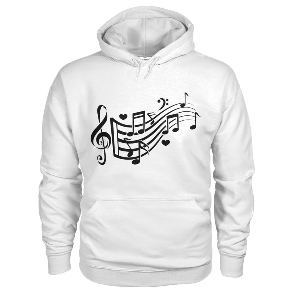 Music Notes Hoodie - White / S - Hoodies