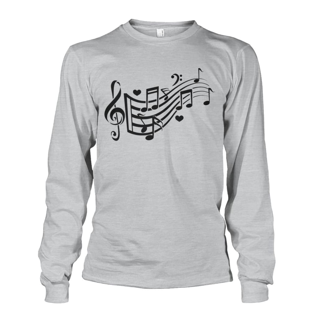 Music Notes Long Sleeve - Ash Grey / S - Long Sleeves