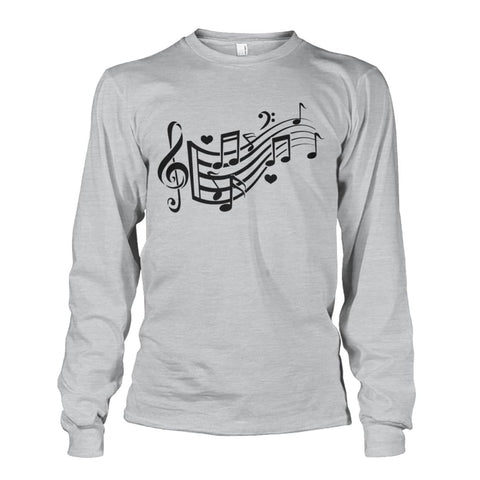 Image of Music Notes Long Sleeve - Ash Grey / S - Long Sleeves