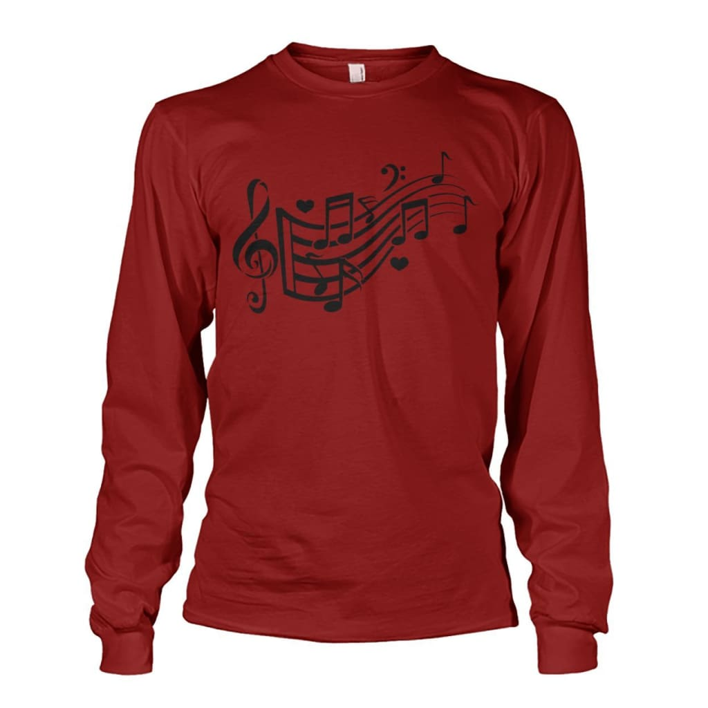 Music Notes Long Sleeve - Cardinal Red / S - Long Sleeves