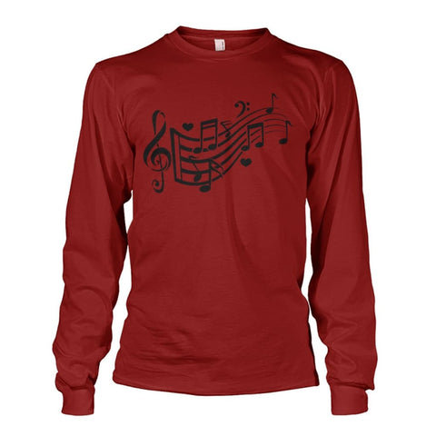 Image of Music Notes Long Sleeve - Cardinal Red / S - Long Sleeves