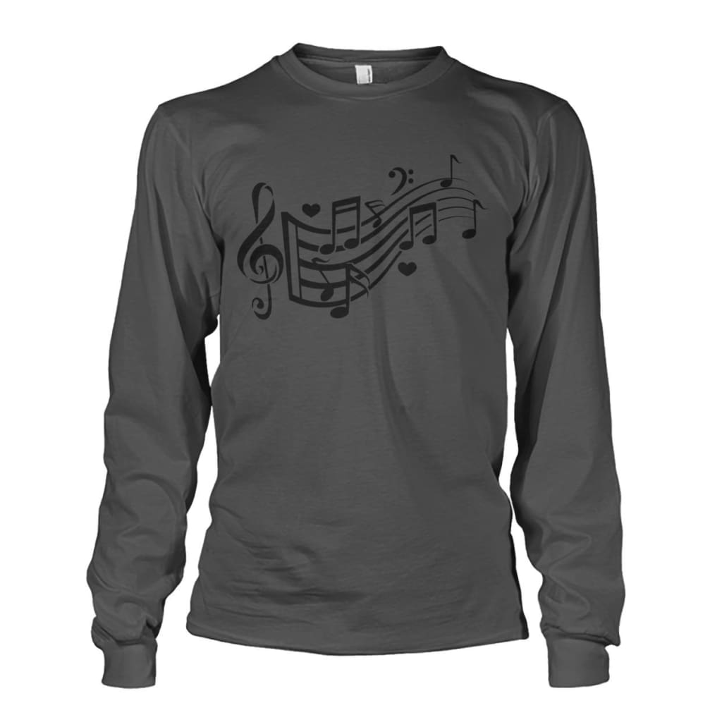 Music Notes Long Sleeve - Charcoal / S - Long Sleeves
