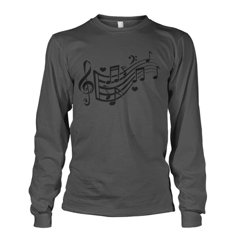Image of Music Notes Long Sleeve - Charcoal / S - Long Sleeves