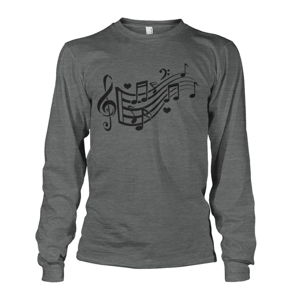 Music Notes Long Sleeve - Dark Heather / S - Long Sleeves