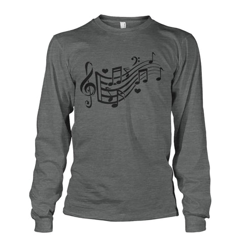 Image of Music Notes Long Sleeve - Dark Heather / S - Long Sleeves