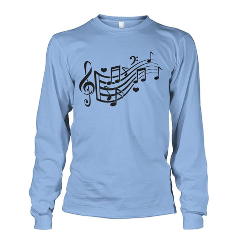 Image of Music Notes Long Sleeve - Light Blue / S - Long Sleeves