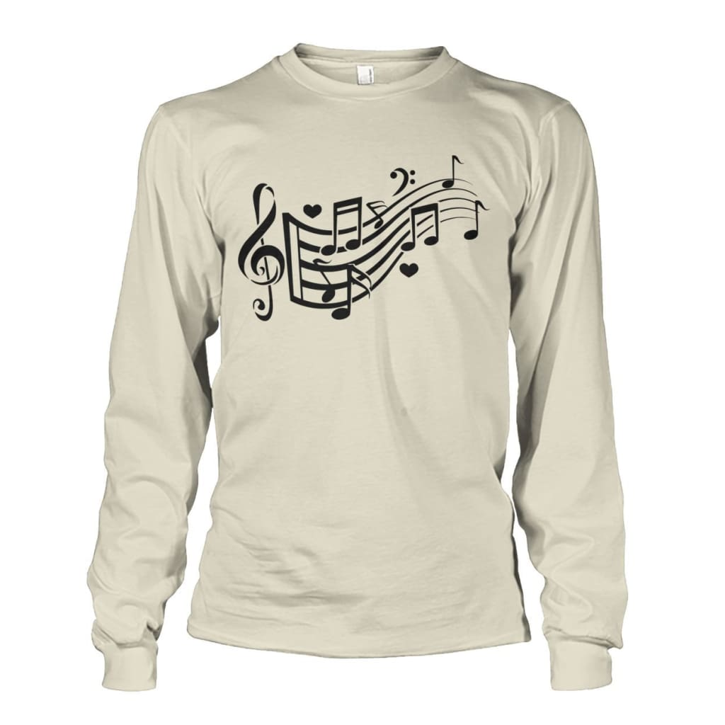 Music Notes Long Sleeve - Natural / S - Long Sleeves