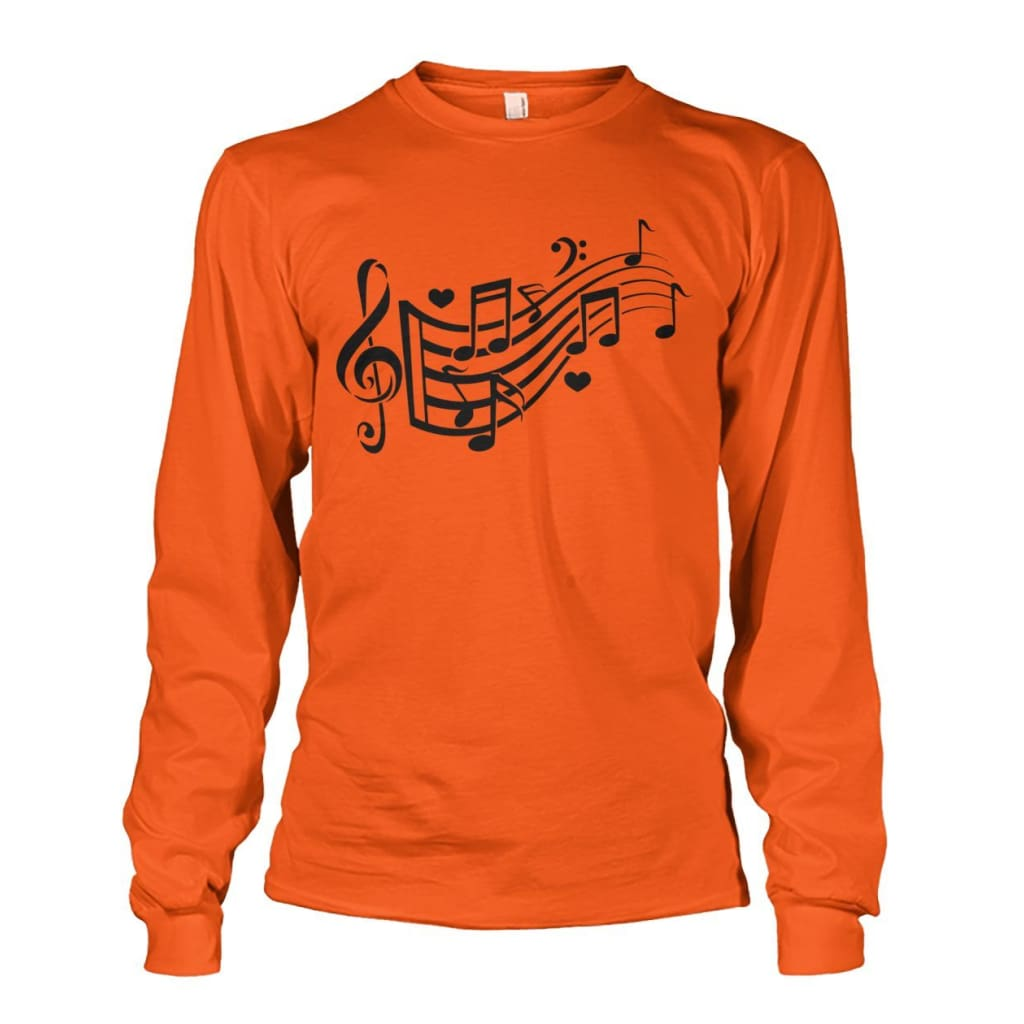Music Notes Long Sleeve - Orange / S - Long Sleeves