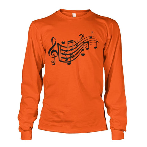 Image of Music Notes Long Sleeve - Orange / S - Long Sleeves
