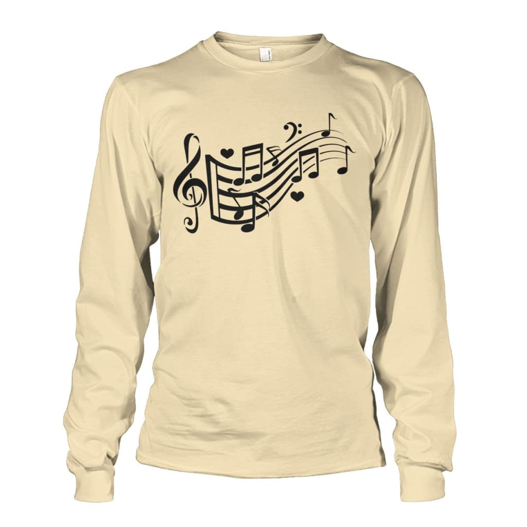 Music Notes Long Sleeve - Sand / S - Long Sleeves