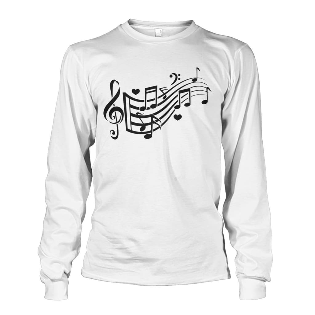 Music Notes Long Sleeve - White / S - Long Sleeves