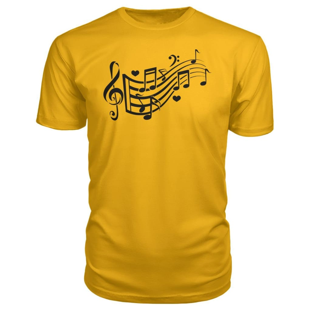 Music Notes Premium Tee - Gold / S - Short Sleeves