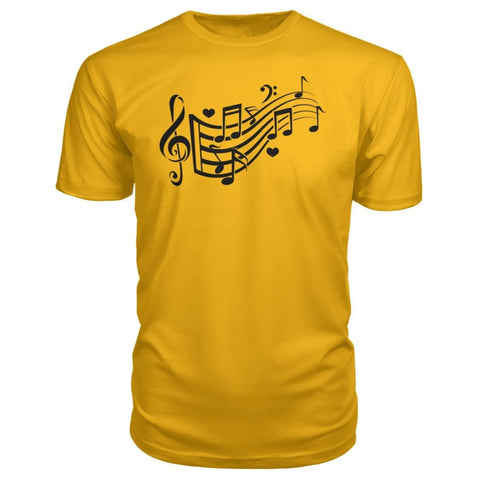 Image of Music Notes Premium Tee - Gold / S - Short Sleeves