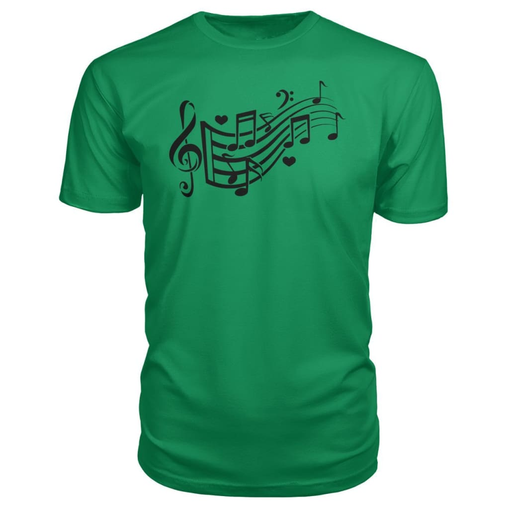 Music Notes Premium Tee - Green Apple / S - Short Sleeves