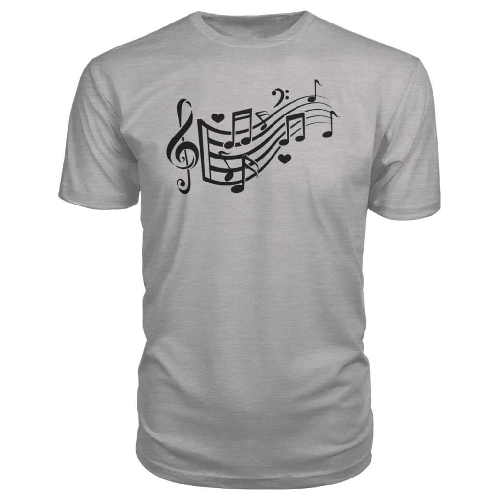 Music Notes Premium Tee - Heather Grey / S - Short Sleeves