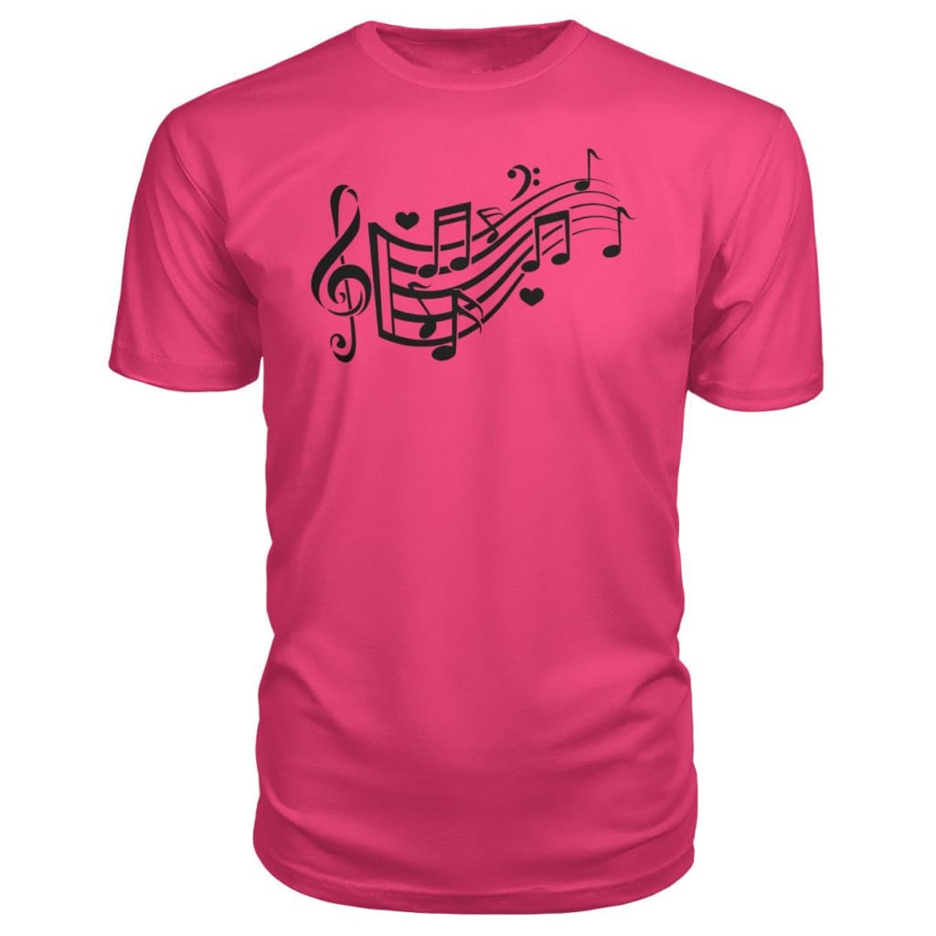 Music Notes Premium Tee - Hot Pink / S - Short Sleeves