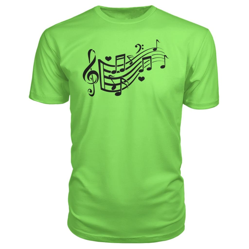 Music Notes Premium Tee - Key Lime / S - Short Sleeves