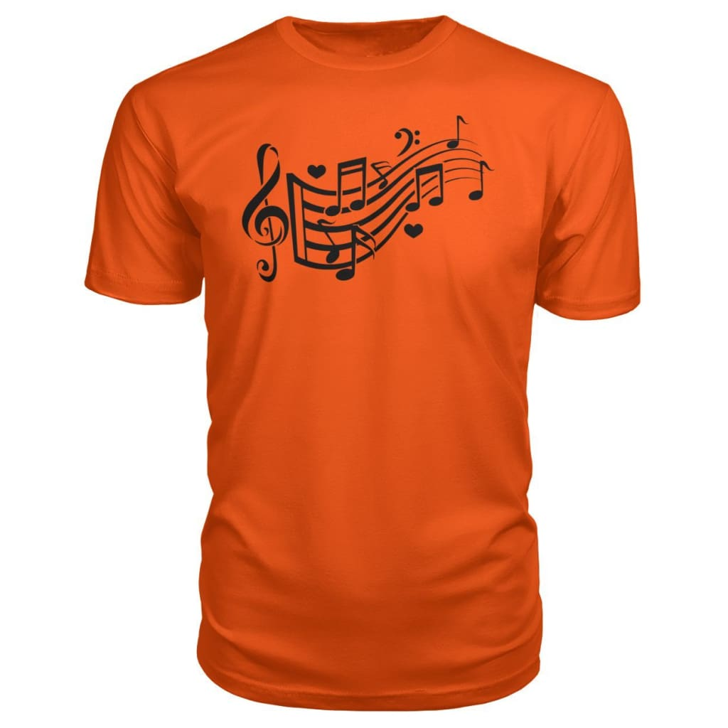 Music Notes Premium Tee - Orange / S - Short Sleeves