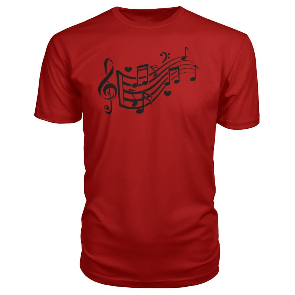 Music Notes Premium Tee - Red / S - Short Sleeves