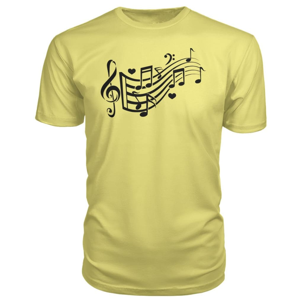Music Notes Premium Tee - Spring Yellow / S - Short Sleeves