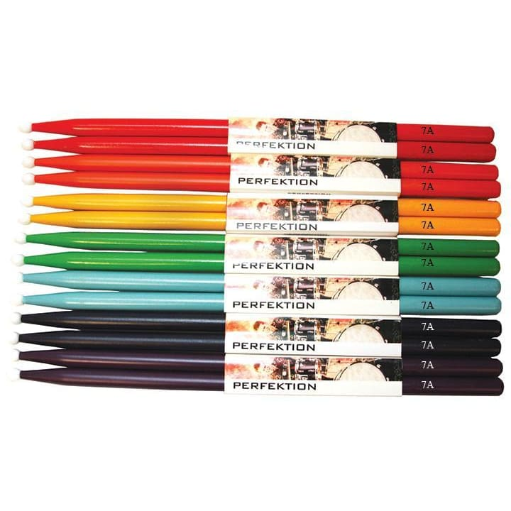 Perfektion 7A Rainbow Colored Stick Pack - Drum & Percussion