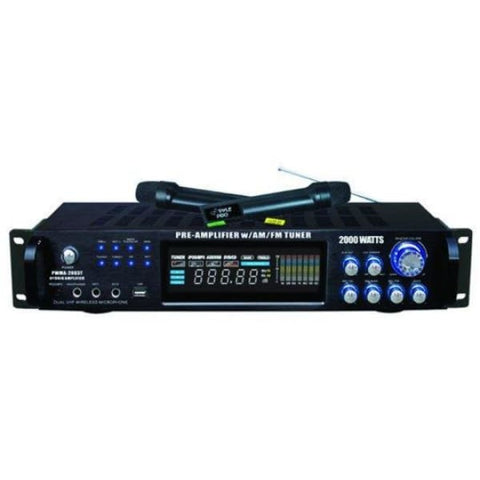 Pre Amp 2000 W Tuner Dual Wireless Mic - DJ & Club Gear