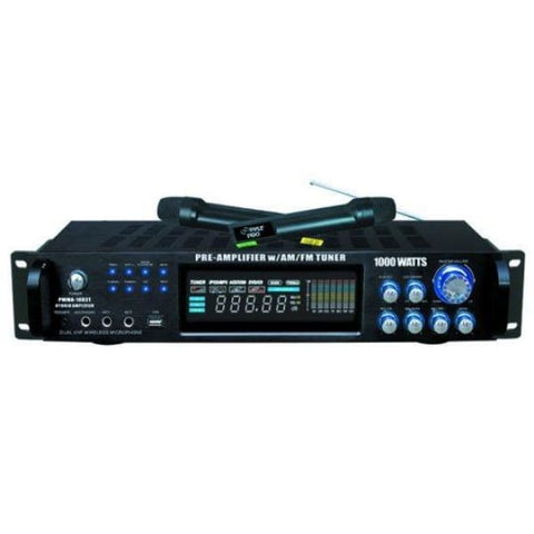 Pyle P 1000 Watt Amp Tuner Wireless Mic - Microphones