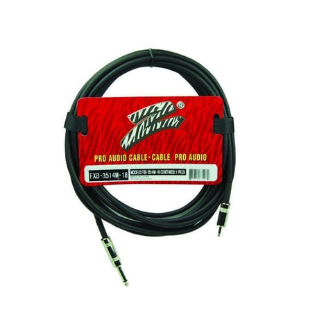 Zebra PRO AUDIO CABLE 18ft 3.5mm to.25in - Guitar & Bass
